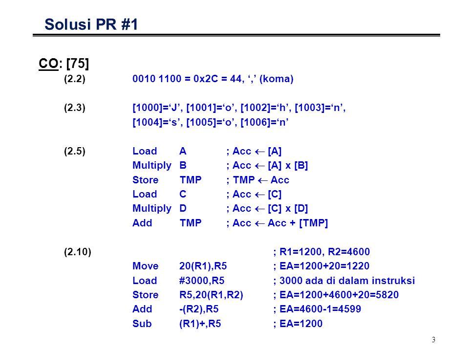 Solusi PR #1 CO: [75] (2.2) 0010 1100 = 0x2C = 44, ',' (koma)